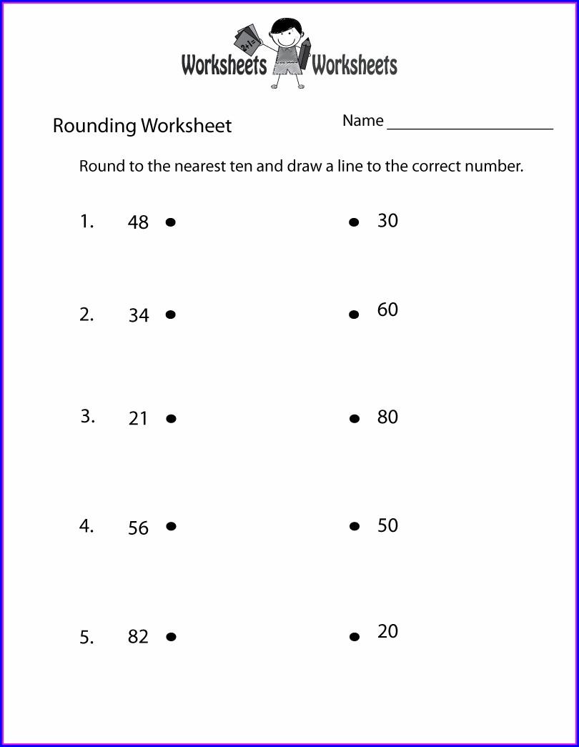 Printable Rounding Whole Numbers Worksheet