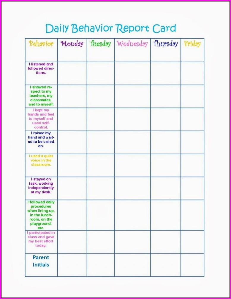 Printable School Behavior Chart