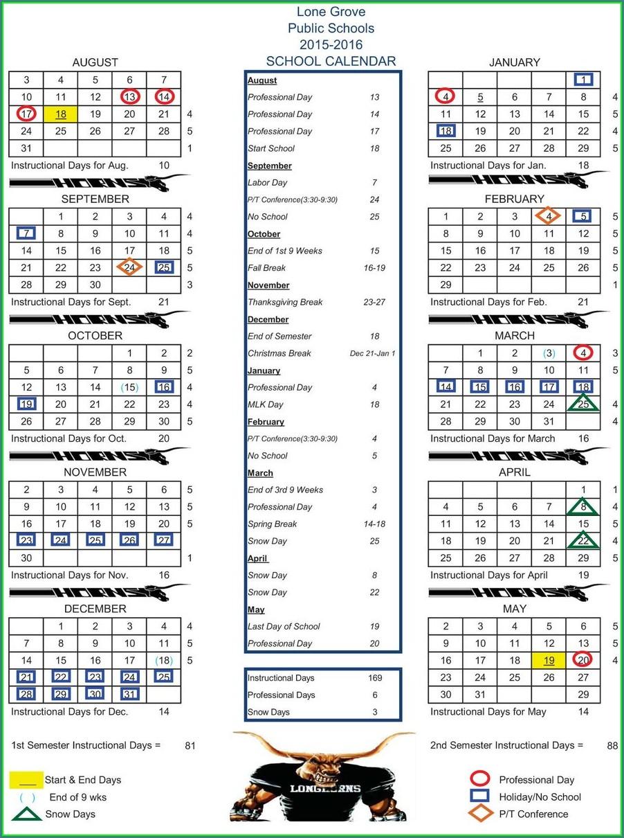 Printable School Calendar 2015 16