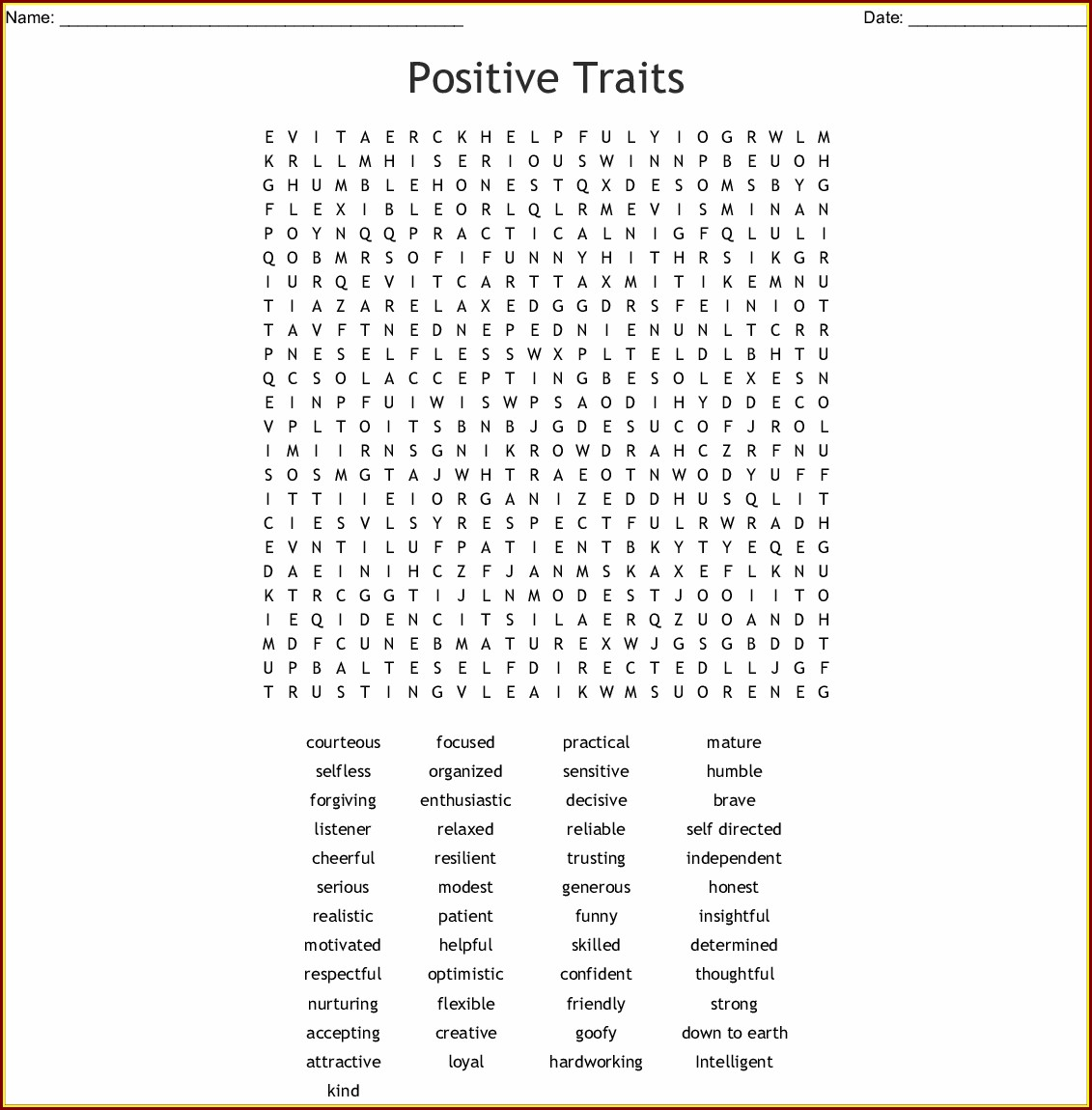 Printable Self Esteem Word Search