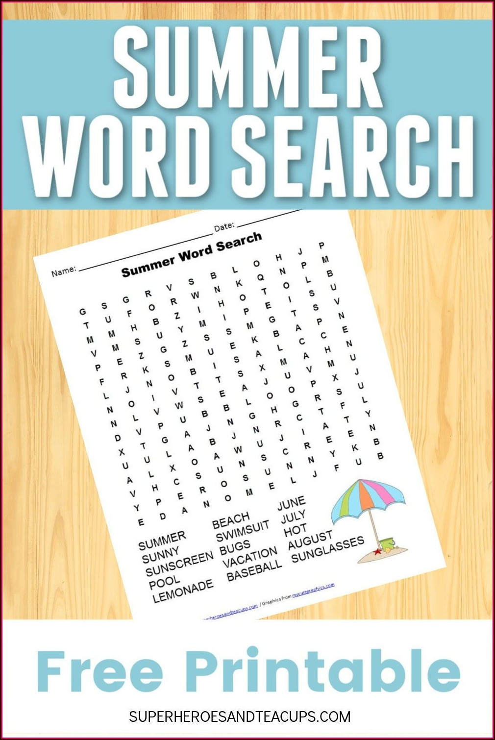 Printable Summer Word Search For Kids