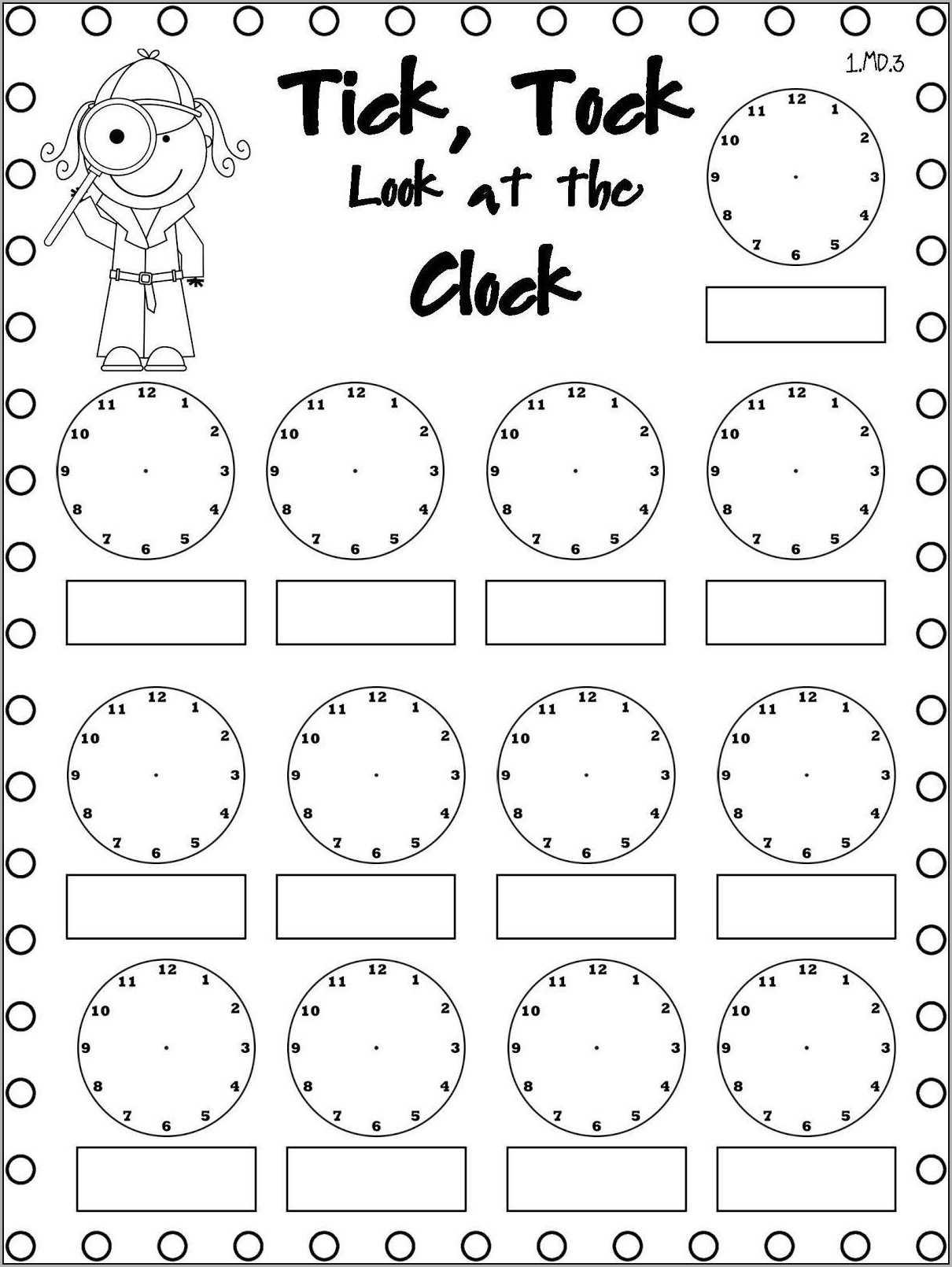 Printable Telling Time To The Hour Worksheets