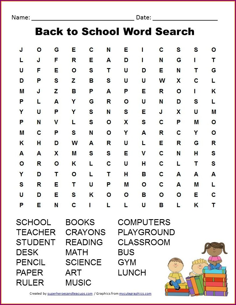 Printable Word Search About School