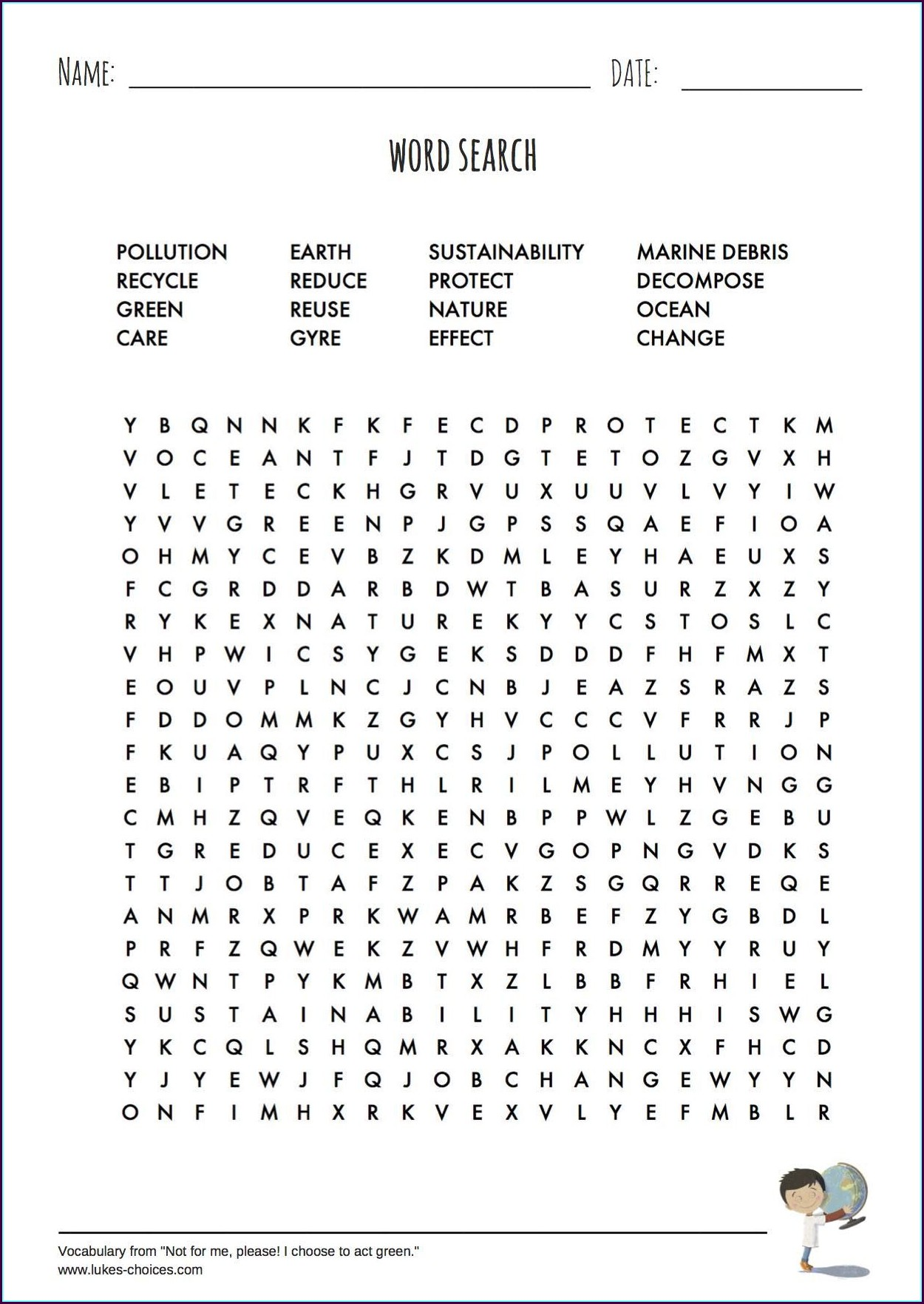 Printable Word Search For Earth Day
