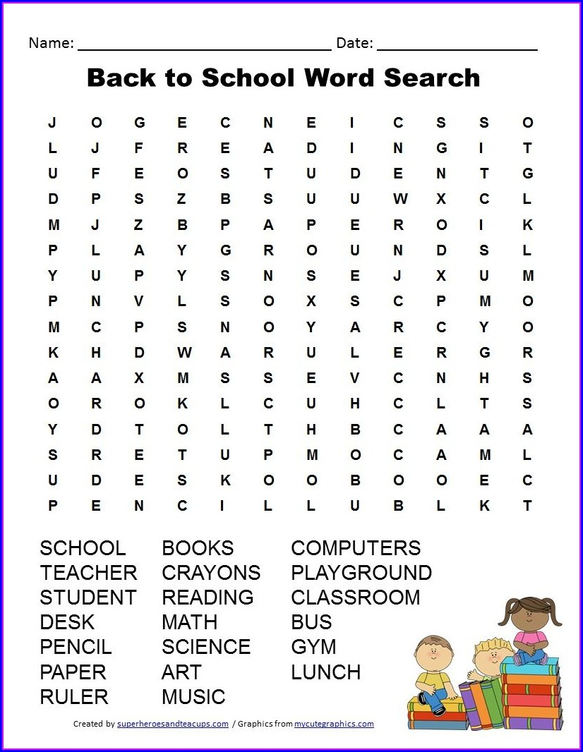 Printable Word Search For Primary School