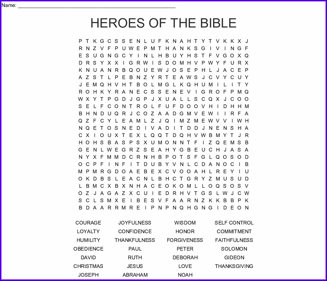 Printable Word Search From The Bible