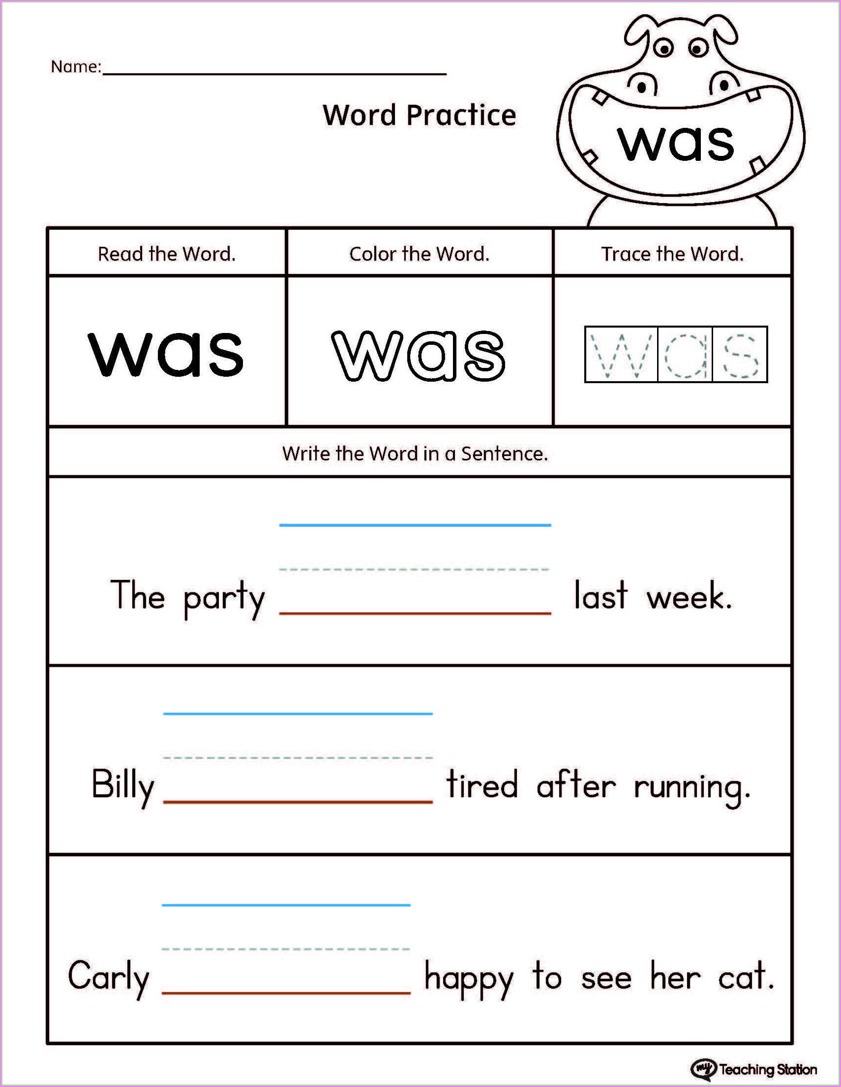Printable Word Search Grade 1