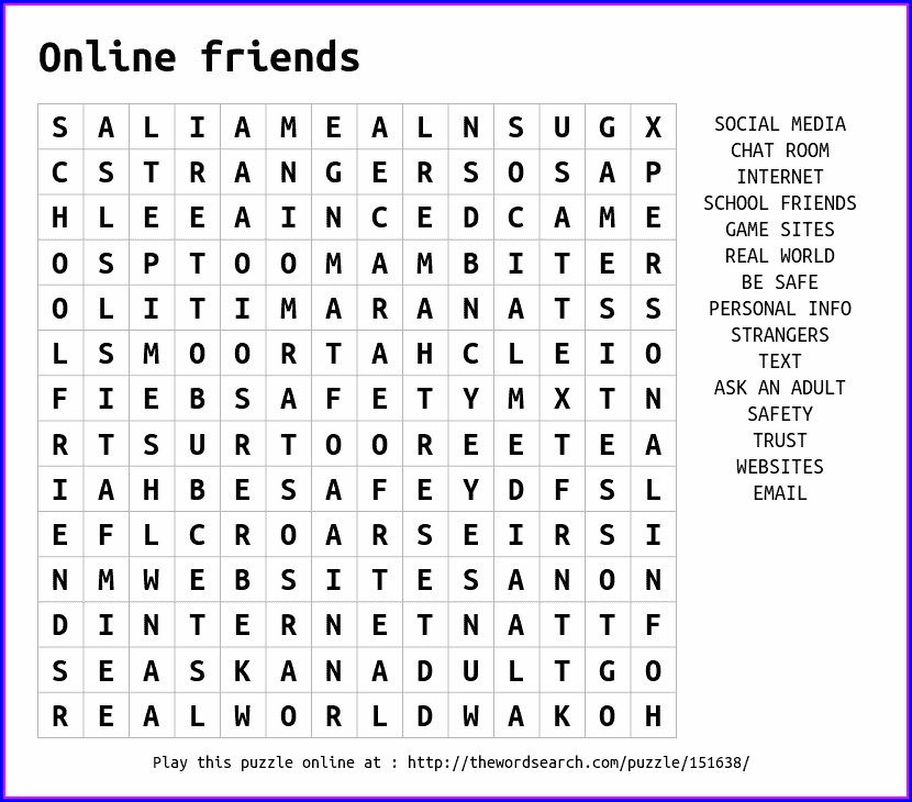 Printable Word Search On Friendship