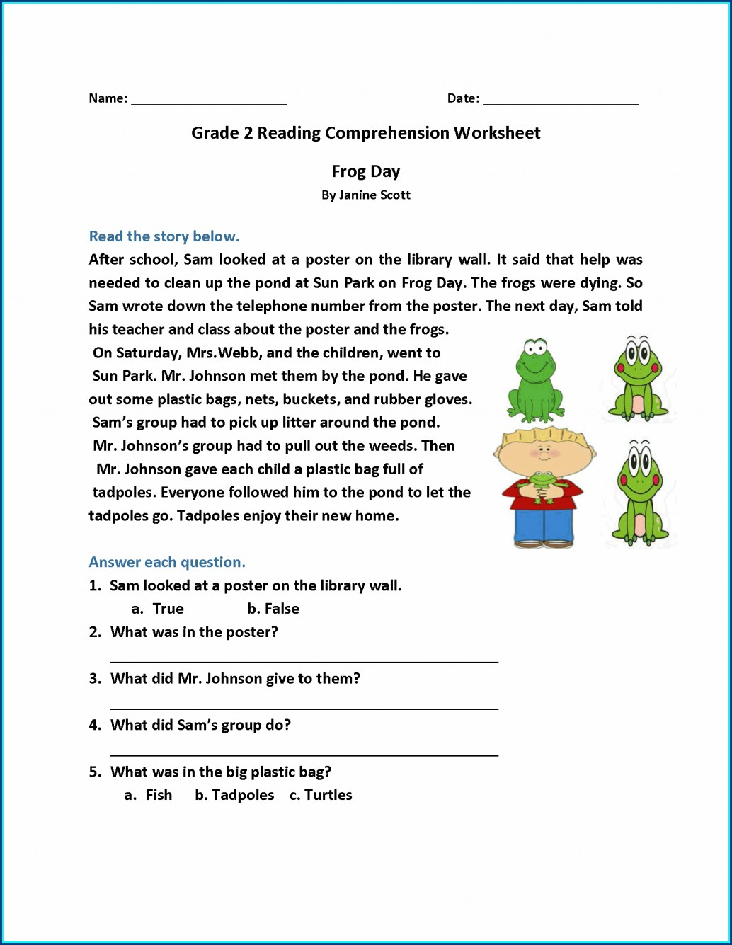 Printable Worksheets And Answers