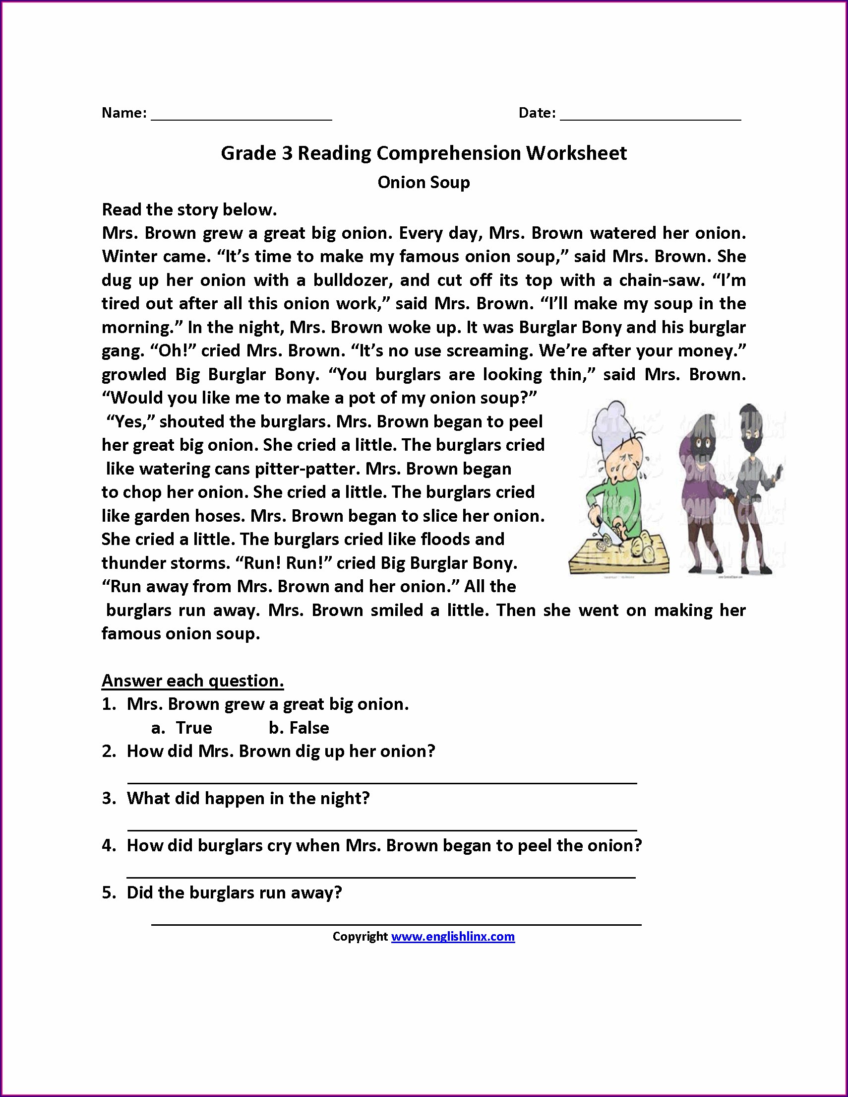 Printable Worksheets For 3rd Grade Reading