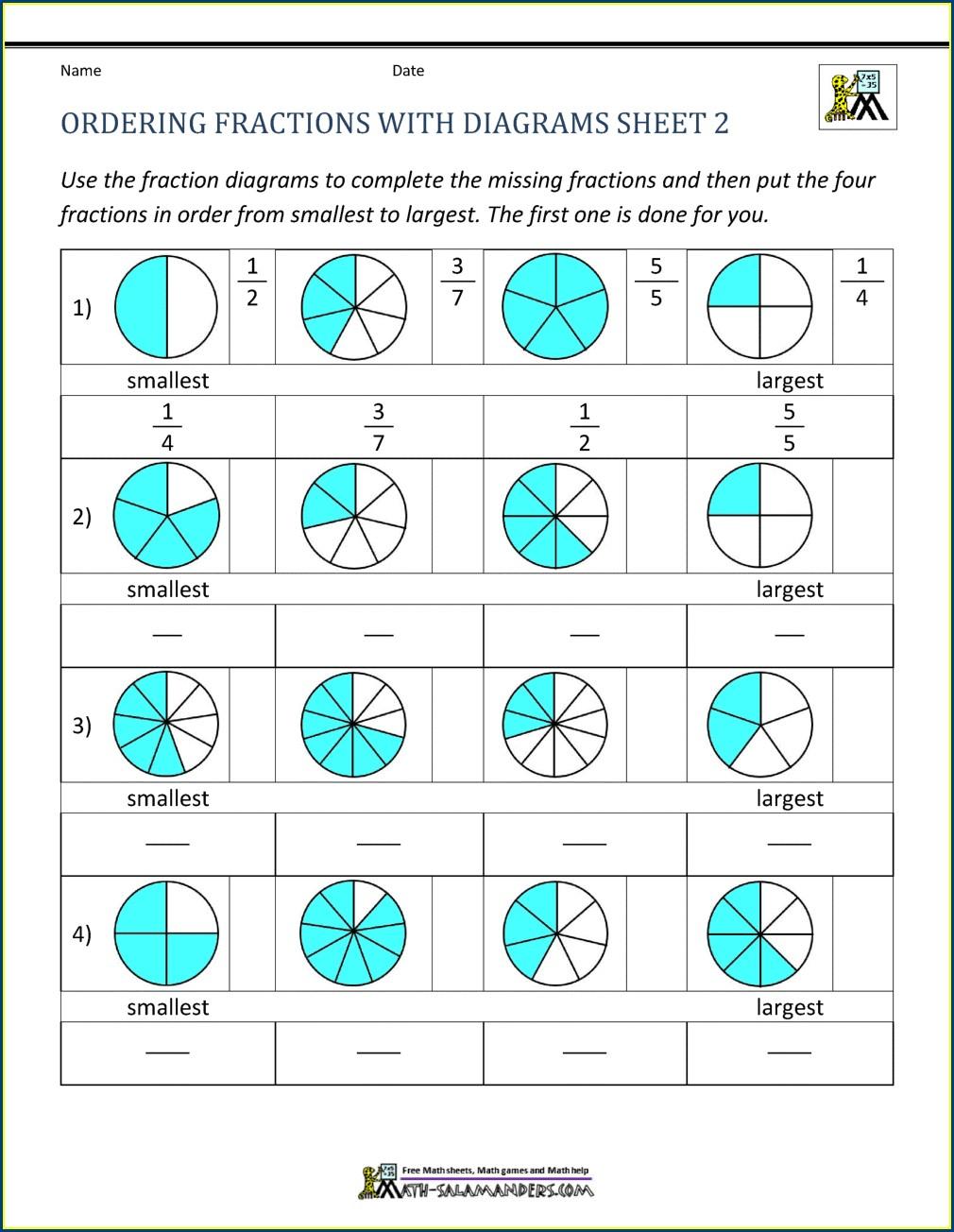 Putting Fractions In Order Worksheet