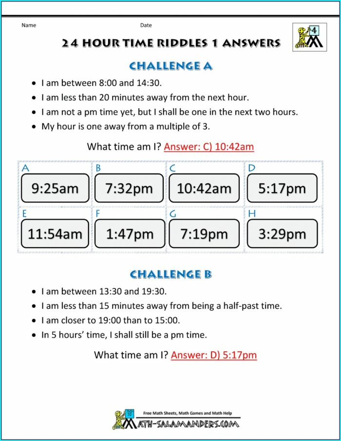 Puzzle Time Math Worksheet Answers