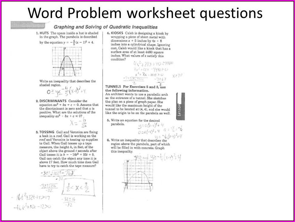 Quadratic Word Problems Worksheet
