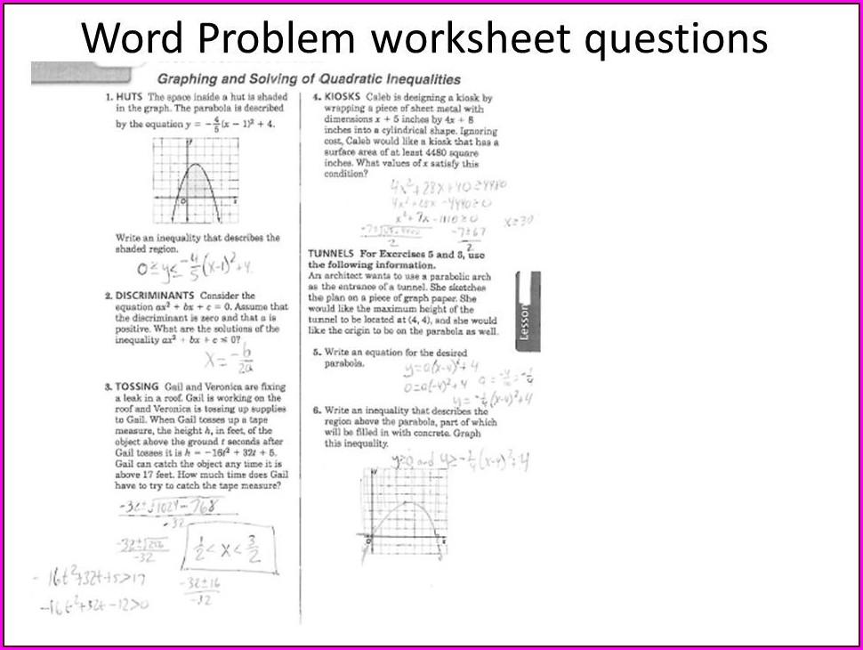 Quadratic Word Problems Worksheet