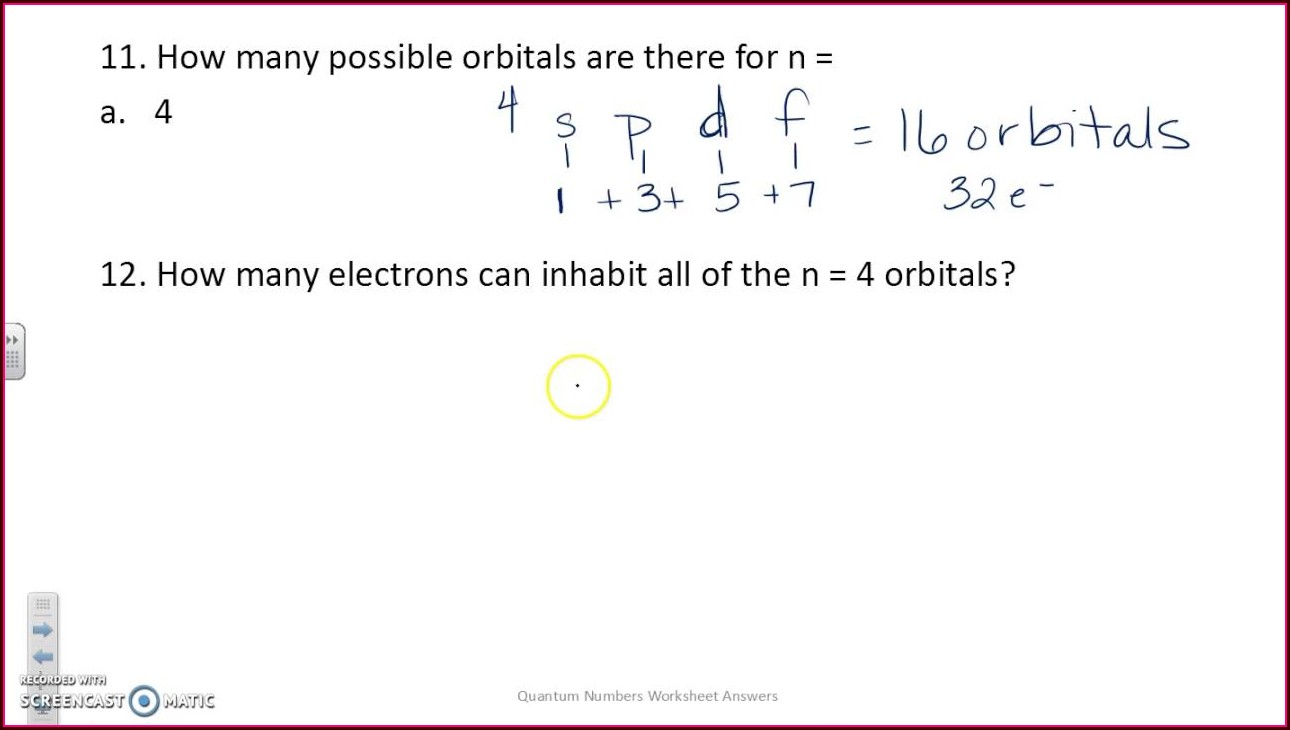 Quantum Numbers Practice Problems Worksheet Answers