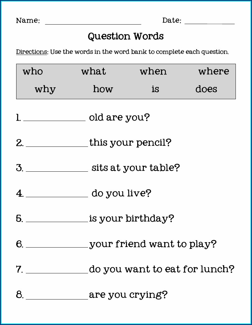 Question Word Worksheet With Answer