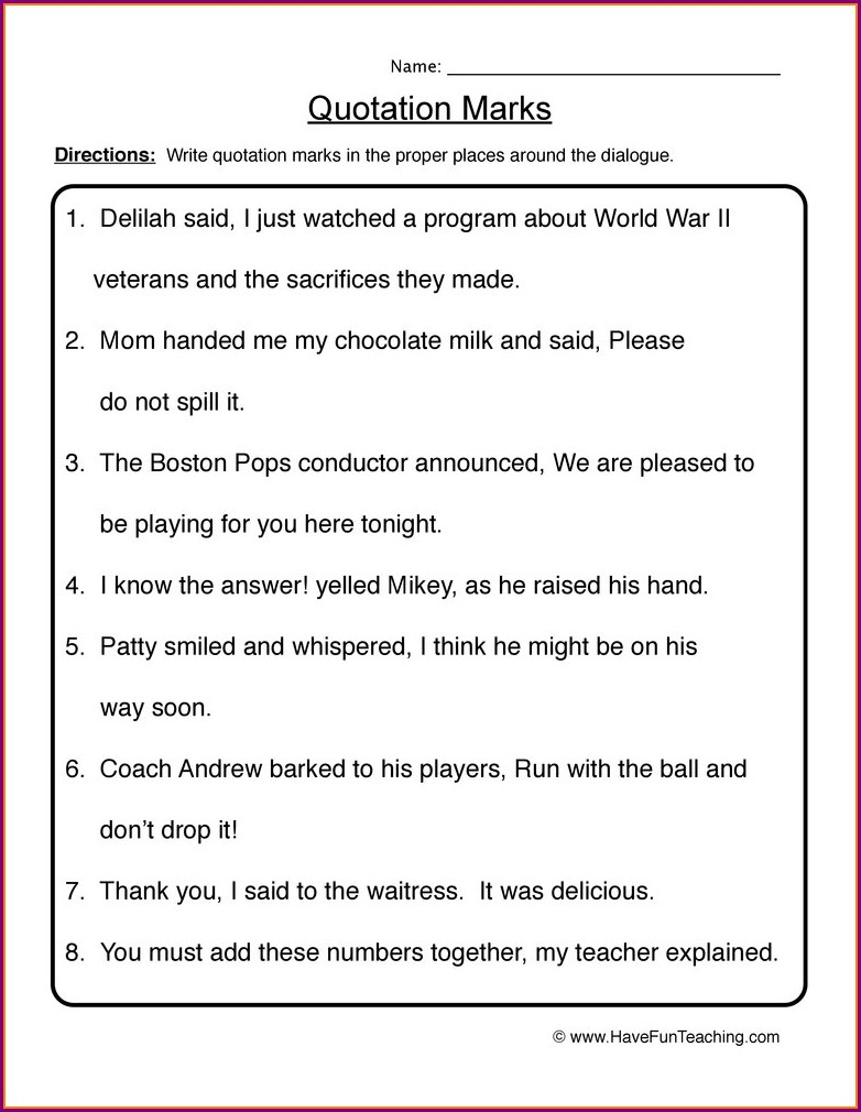 Quotations Worksheet 3rd Grade