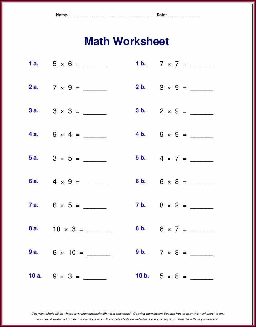 Random Times Table Worksheets