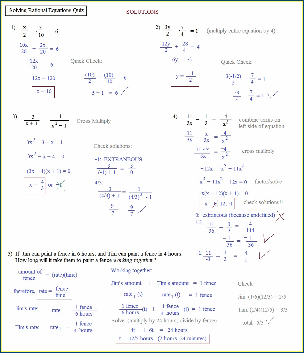 Rational Equations Word Problems Worksheet With Solutions