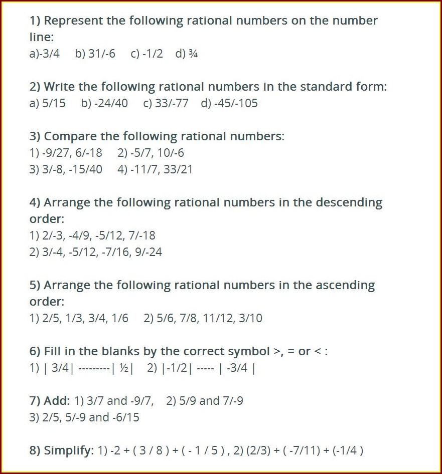 Rational Number Application Worksheet