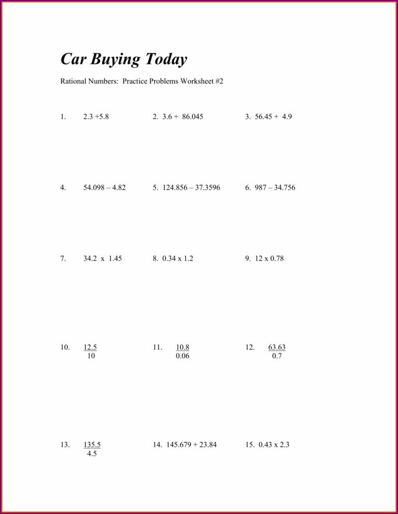 Rational Number Worksheet Practice