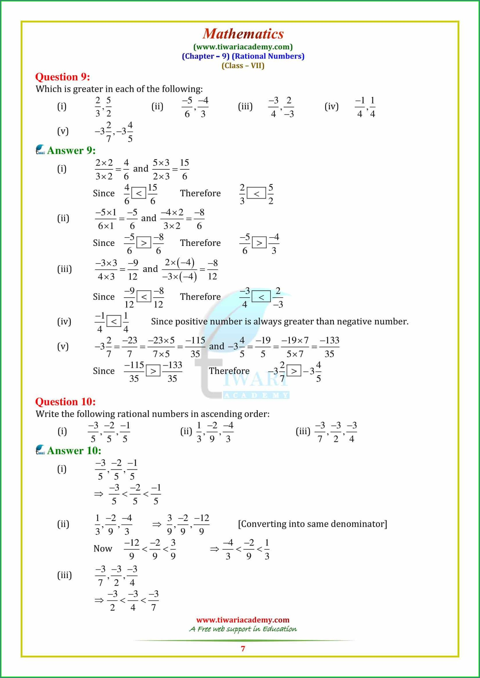 Rational Numbers Worksheet Class 9