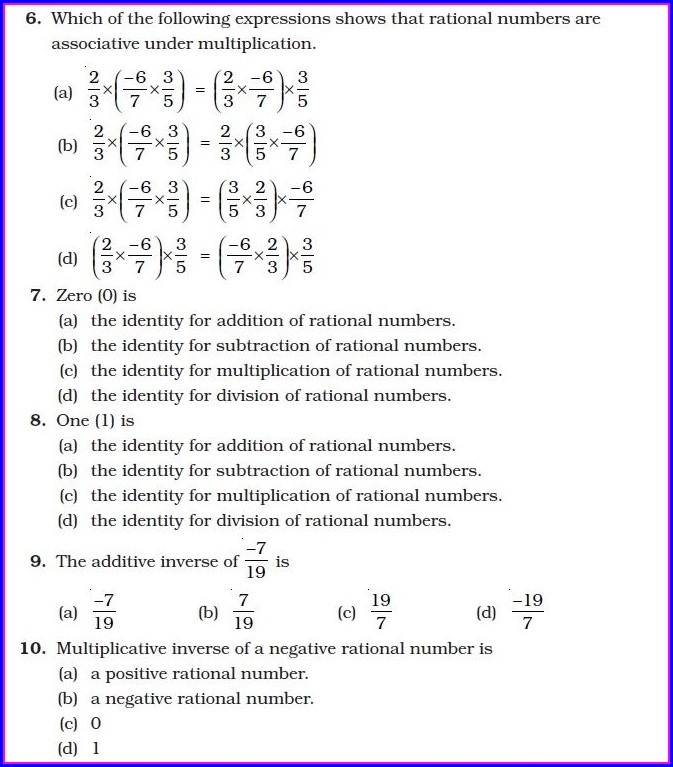 Rational Numbers Worksheet Grade 10