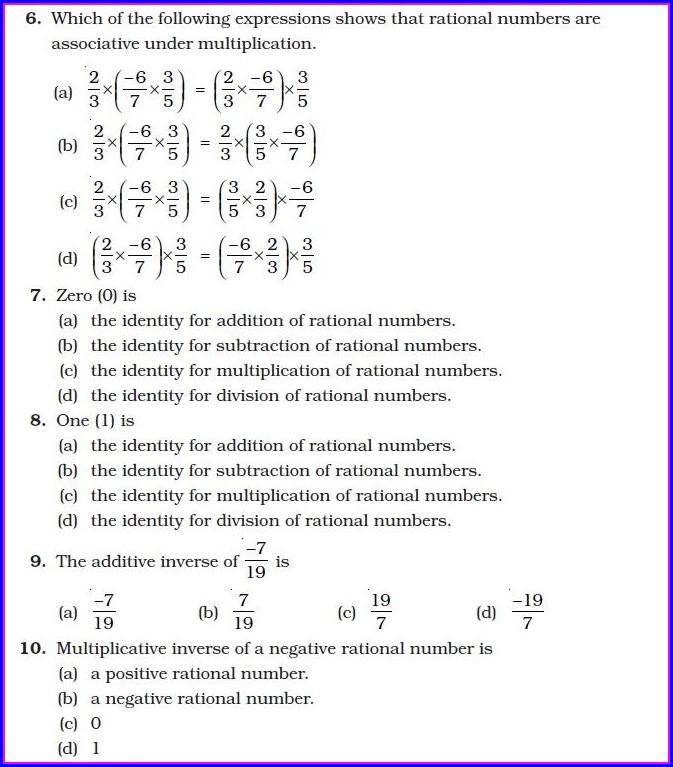 Rational Numbers Worksheet Grade 10