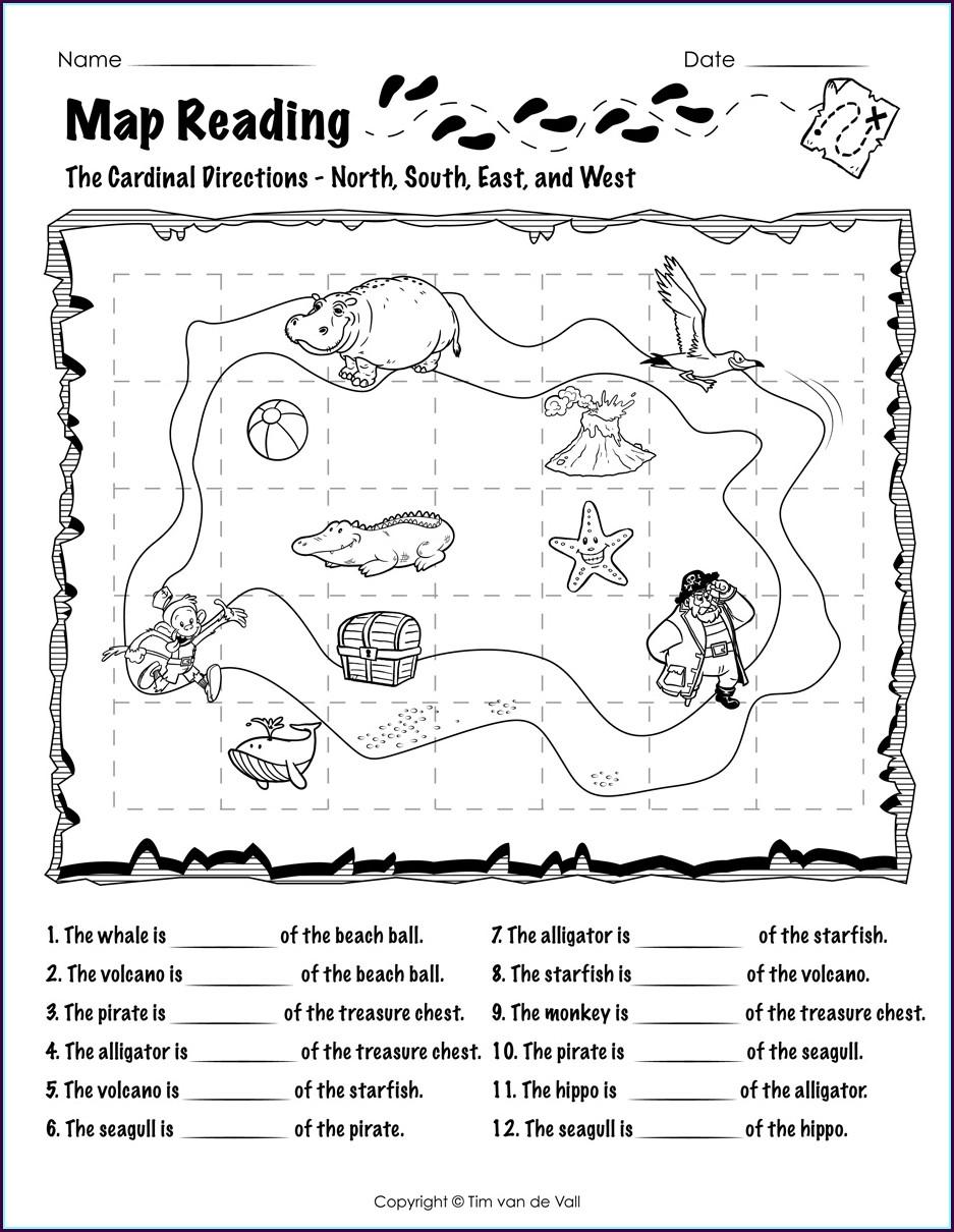 Reading A Map Worksheet 1st Grade