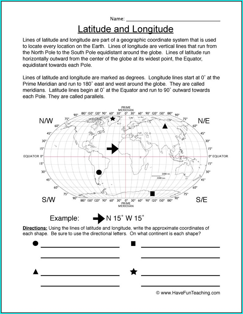 Reading A Map Worksheet For First Grade