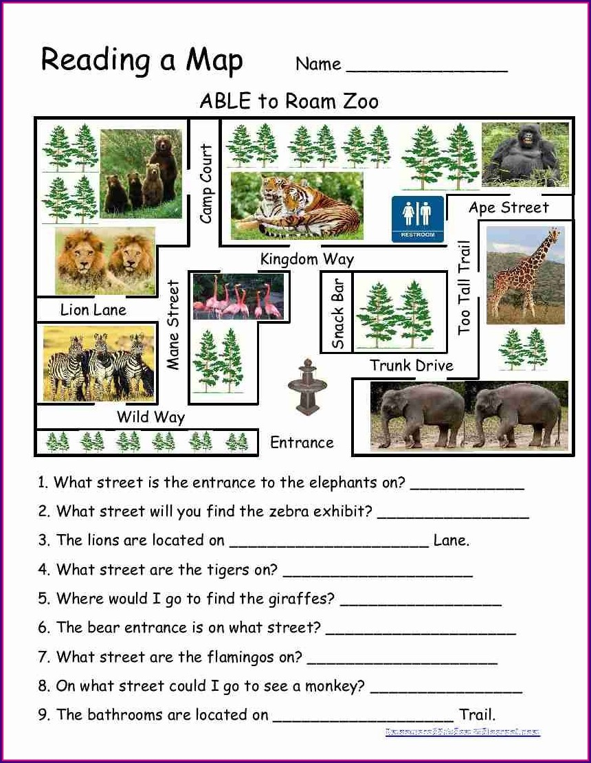 Reading A Map Worksheet