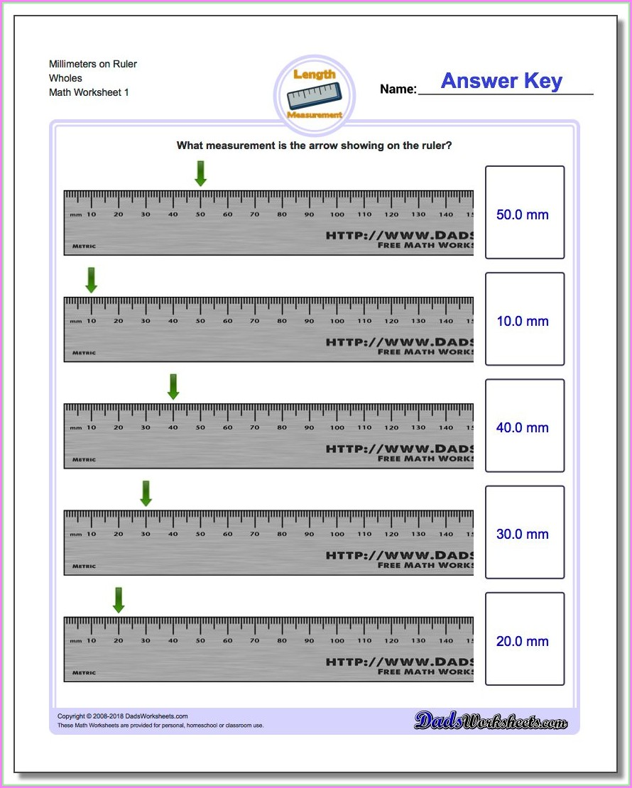 Reading A Ruler Worksheet With Answers