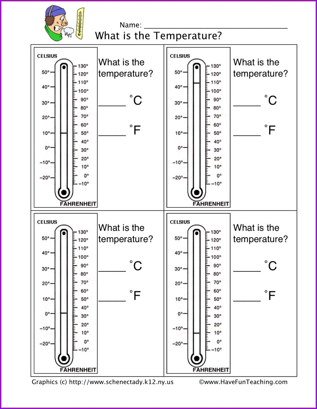 Reading A Thermometer Worksheet 1st Grade