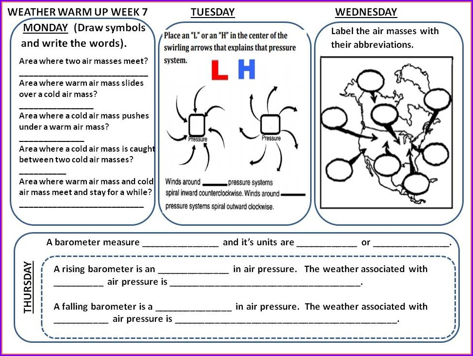 Reading A Weather Map Worksheet Pdf