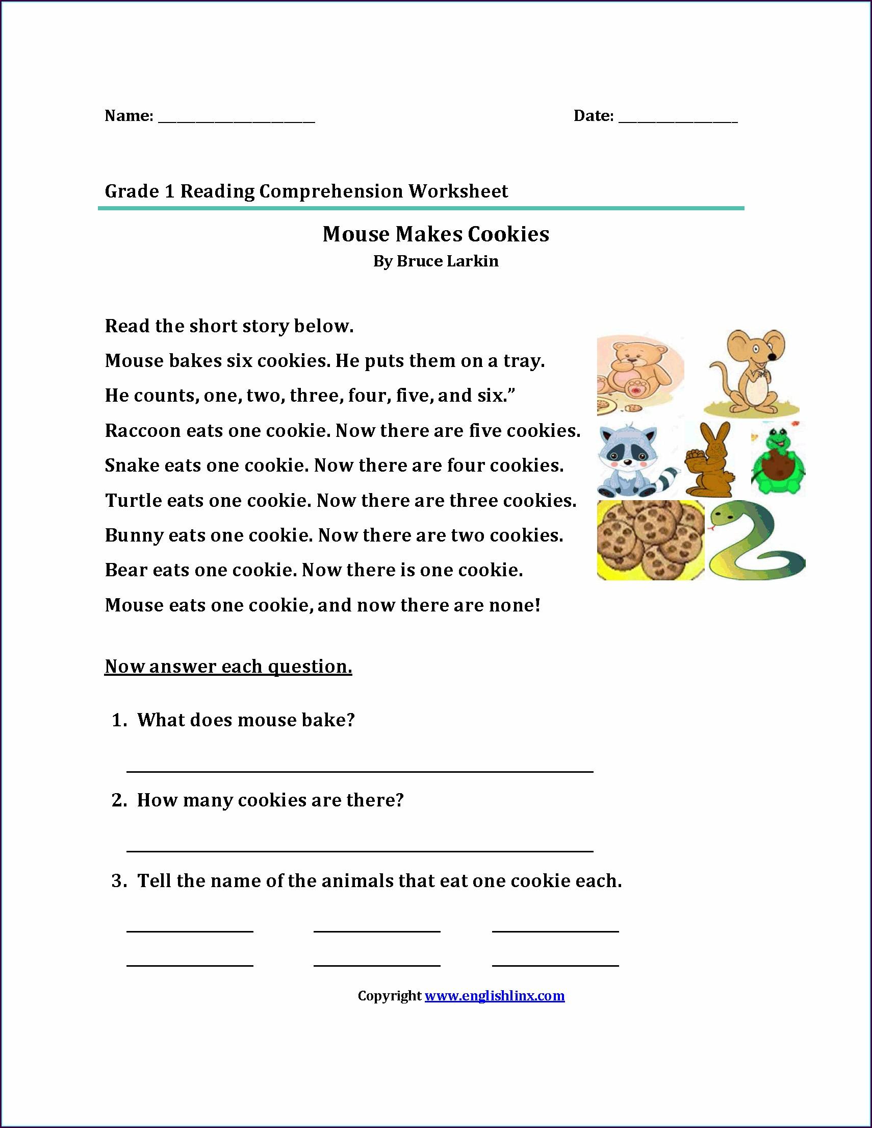 Reading Comprehension 1st Grade Worksheet