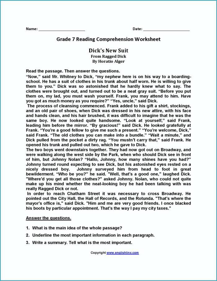Reading Comprehension English Worksheet For Grade 7