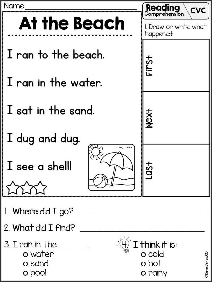 Reading Comprehension Open Ended Questions Worksheets