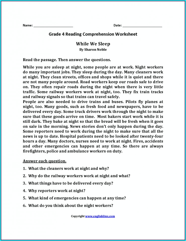 Reading Comprehension Worksheet And Answers