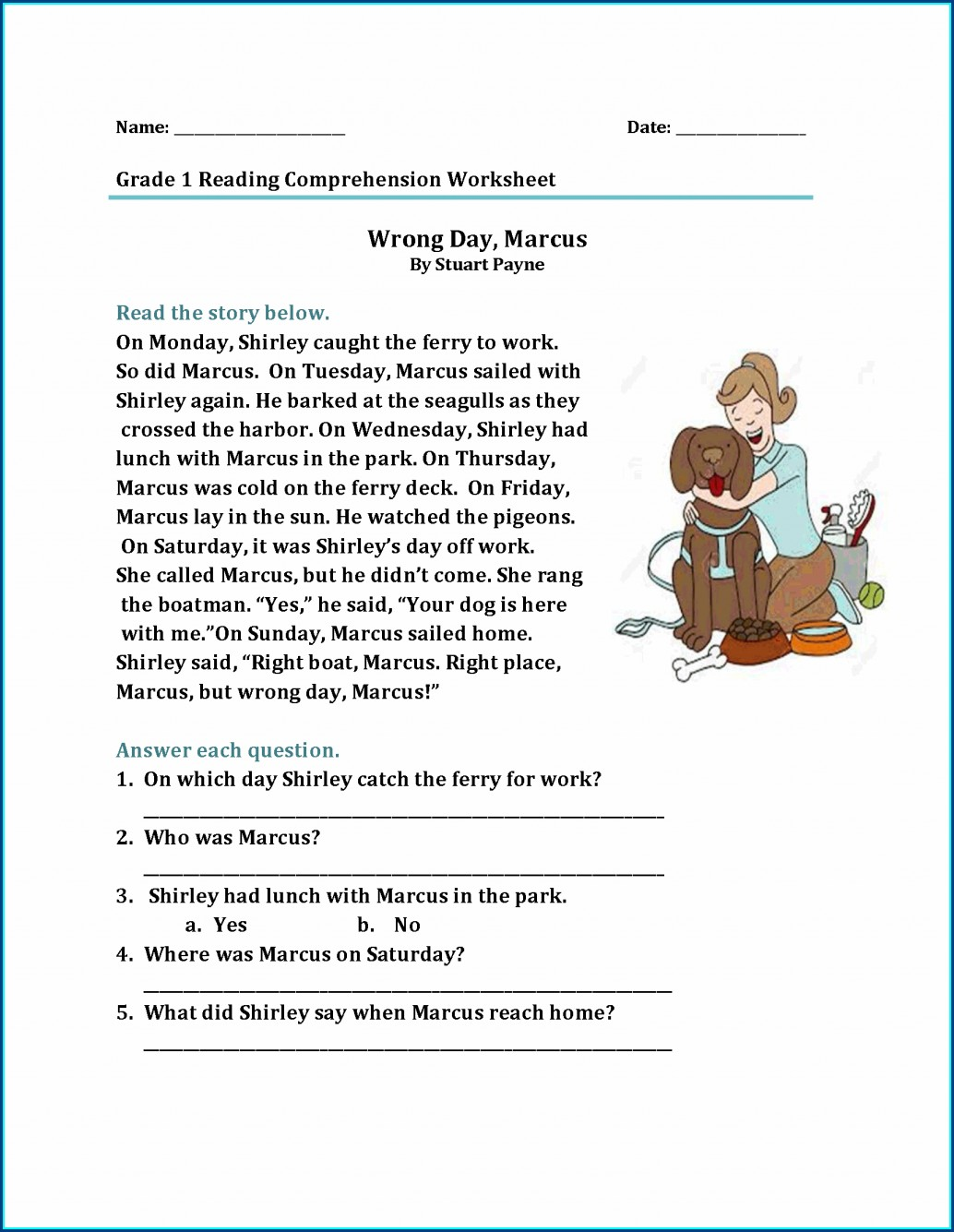 Reading Comprehension Worksheet For 1st Grade