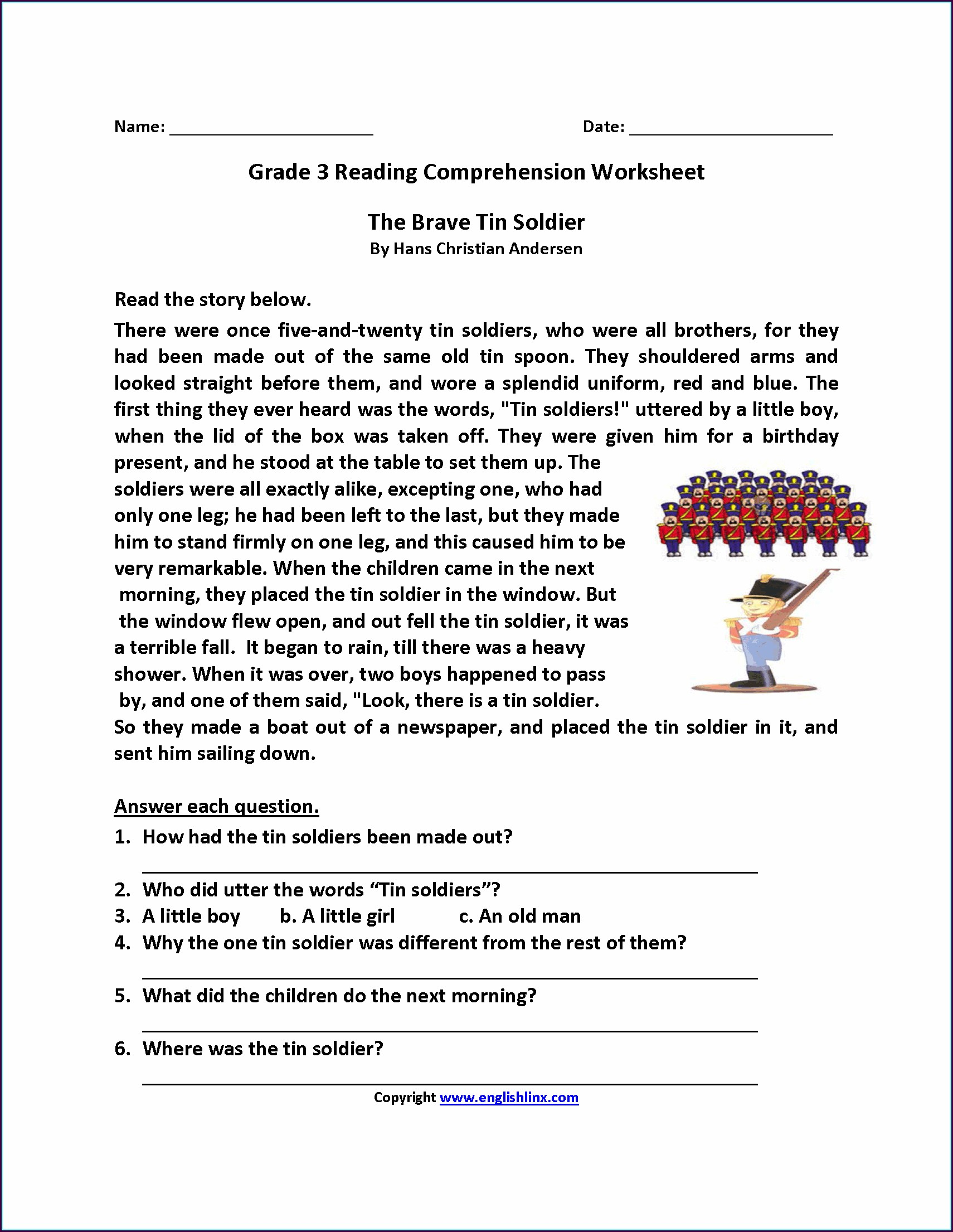 Reading Comprehension Worksheet For Grade 6