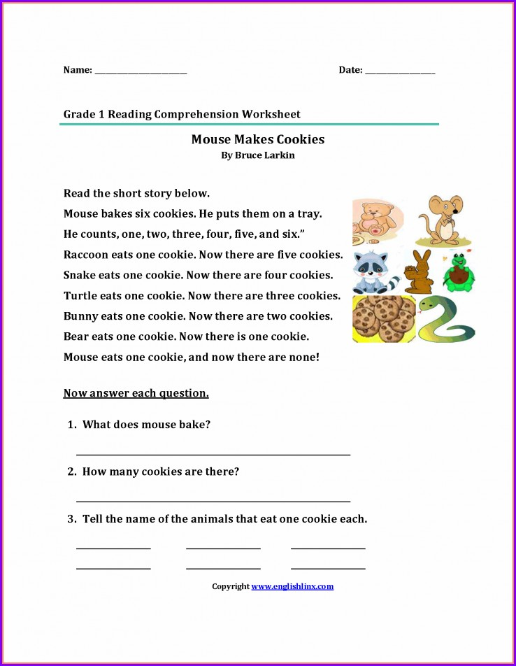 Reading Comprehension Worksheet Grade 1