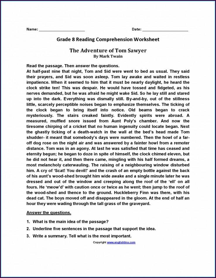 Reading Comprehension Worksheet Grade 8