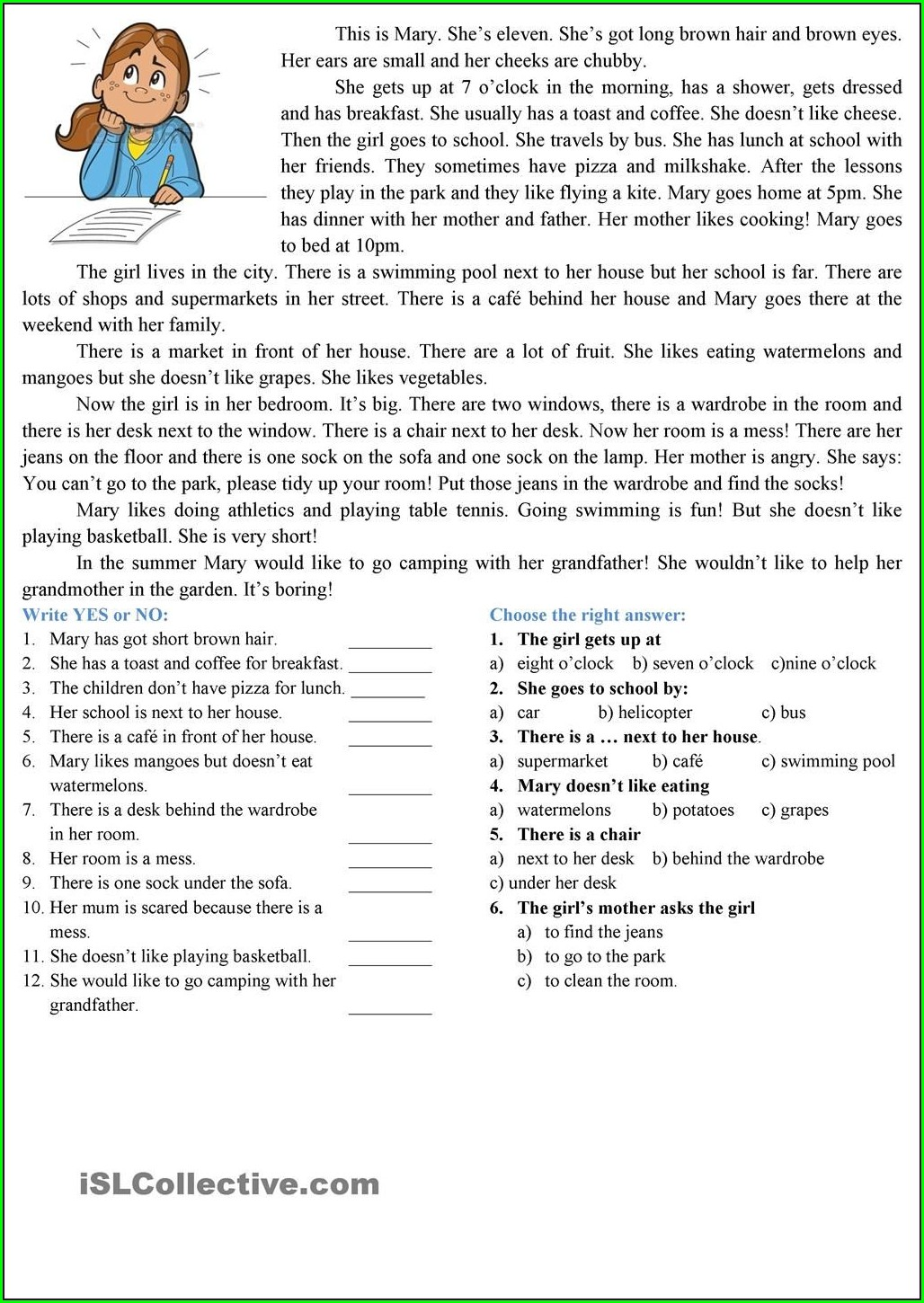 Reading Comprehension Worksheets Esl Elementary