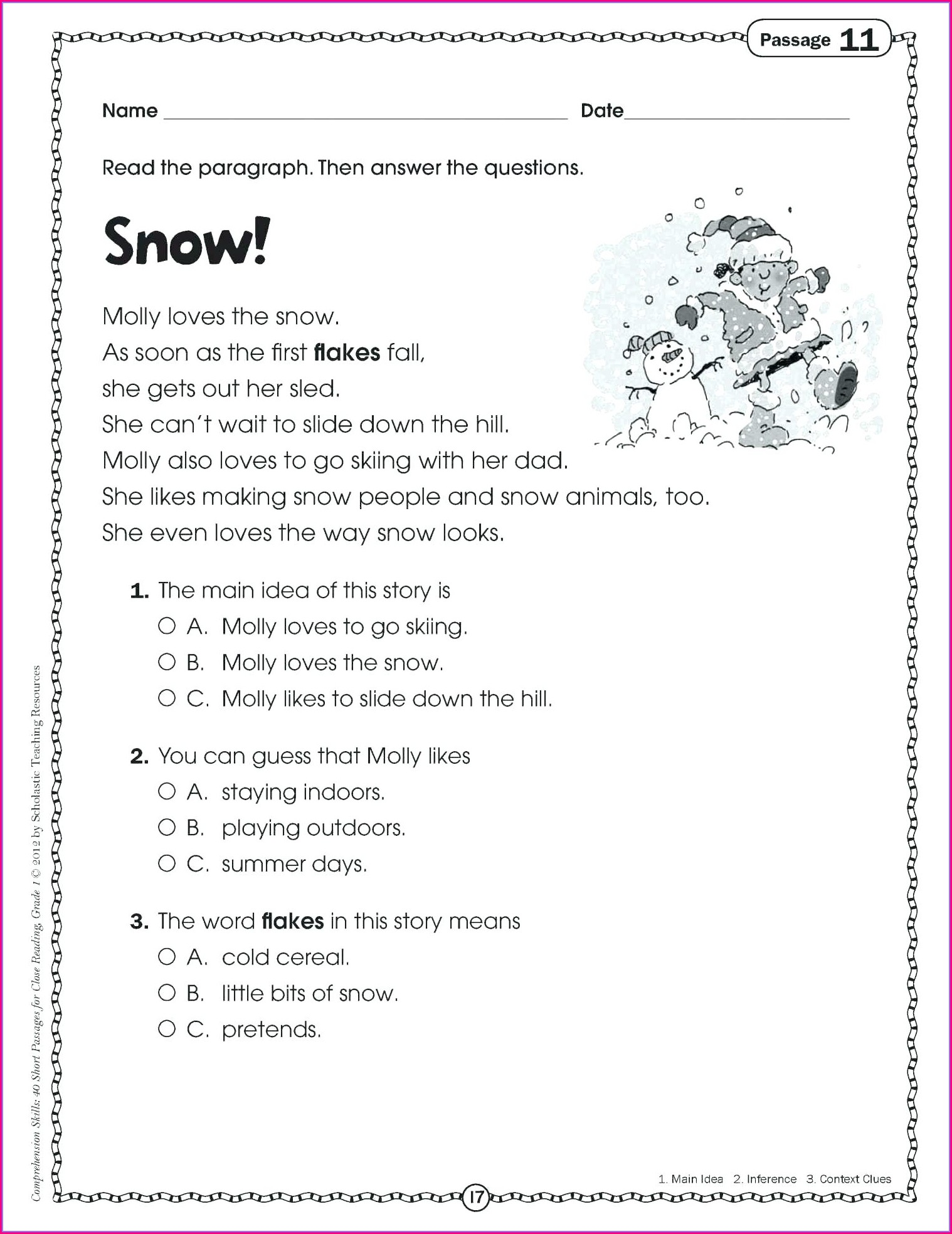 Reading Comprehension Worksheets First Grade Free