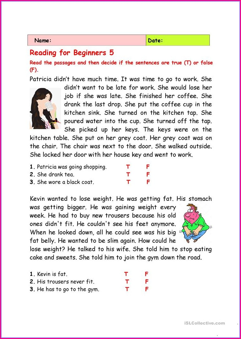Reading Comprehension Worksheets For Beginners Pdf
