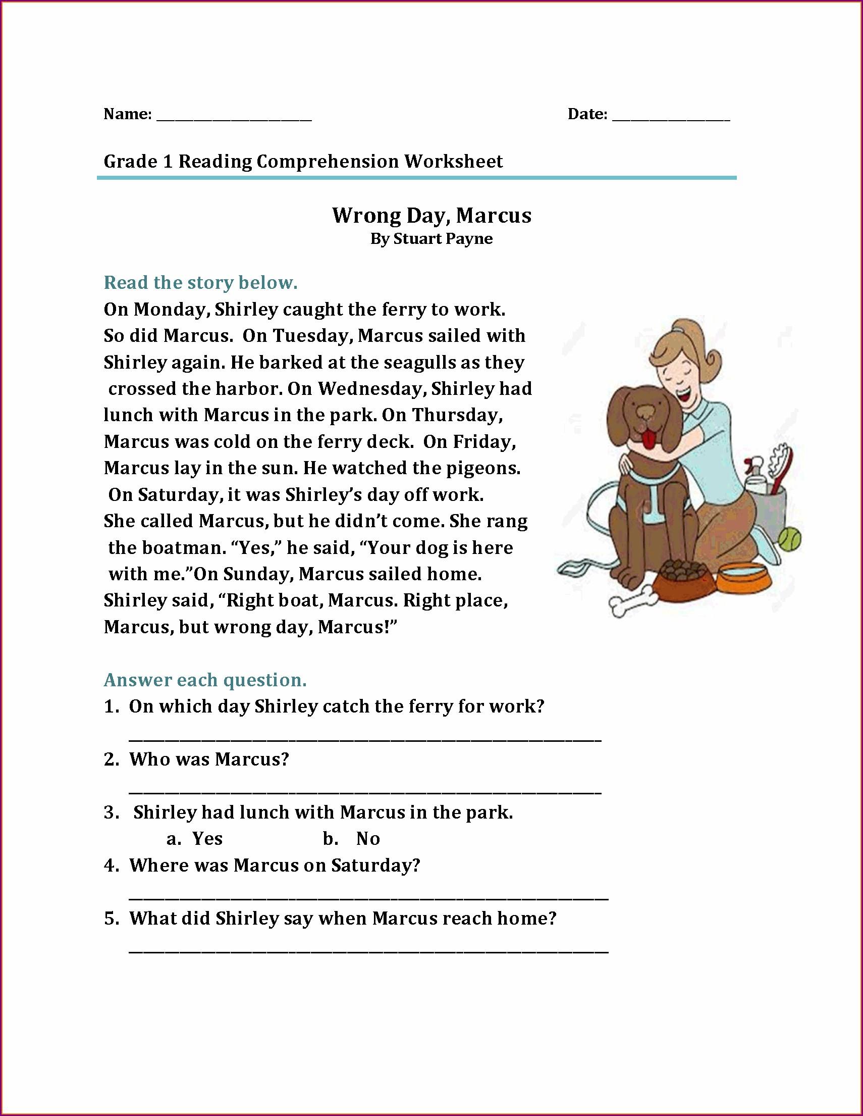 Reading Comprehension Worksheets For Grade 2
