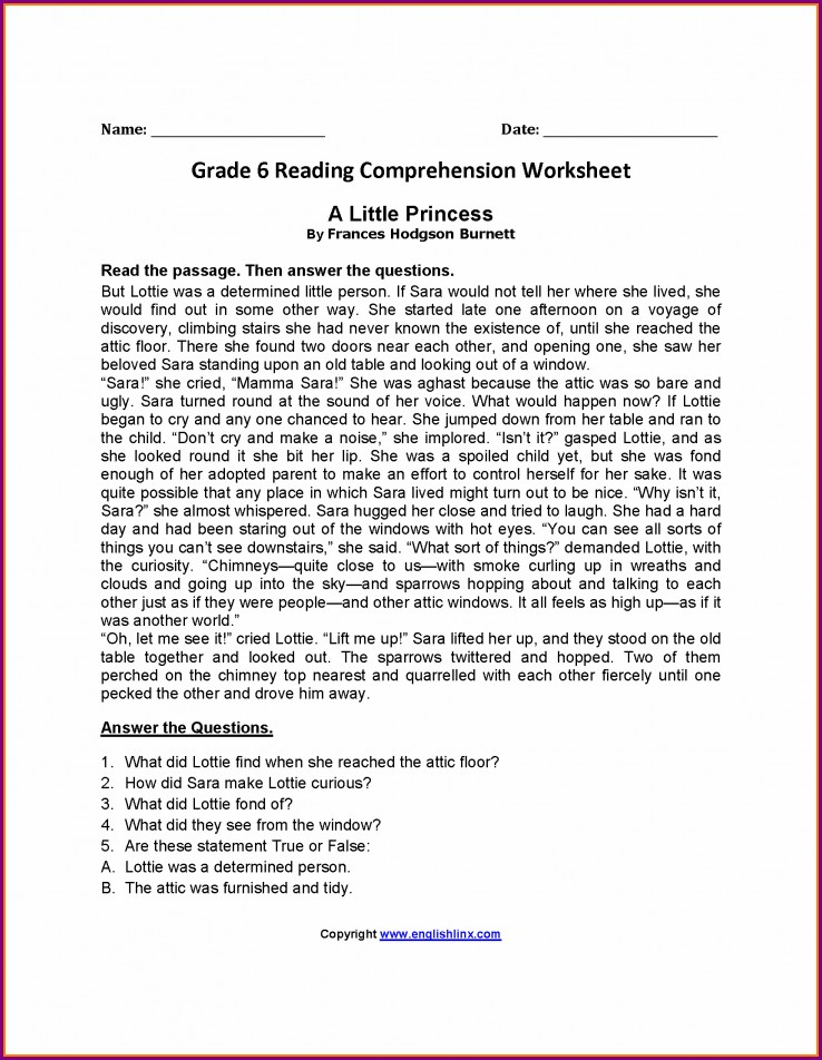 Reading Comprehension Worksheets For Grade 6
