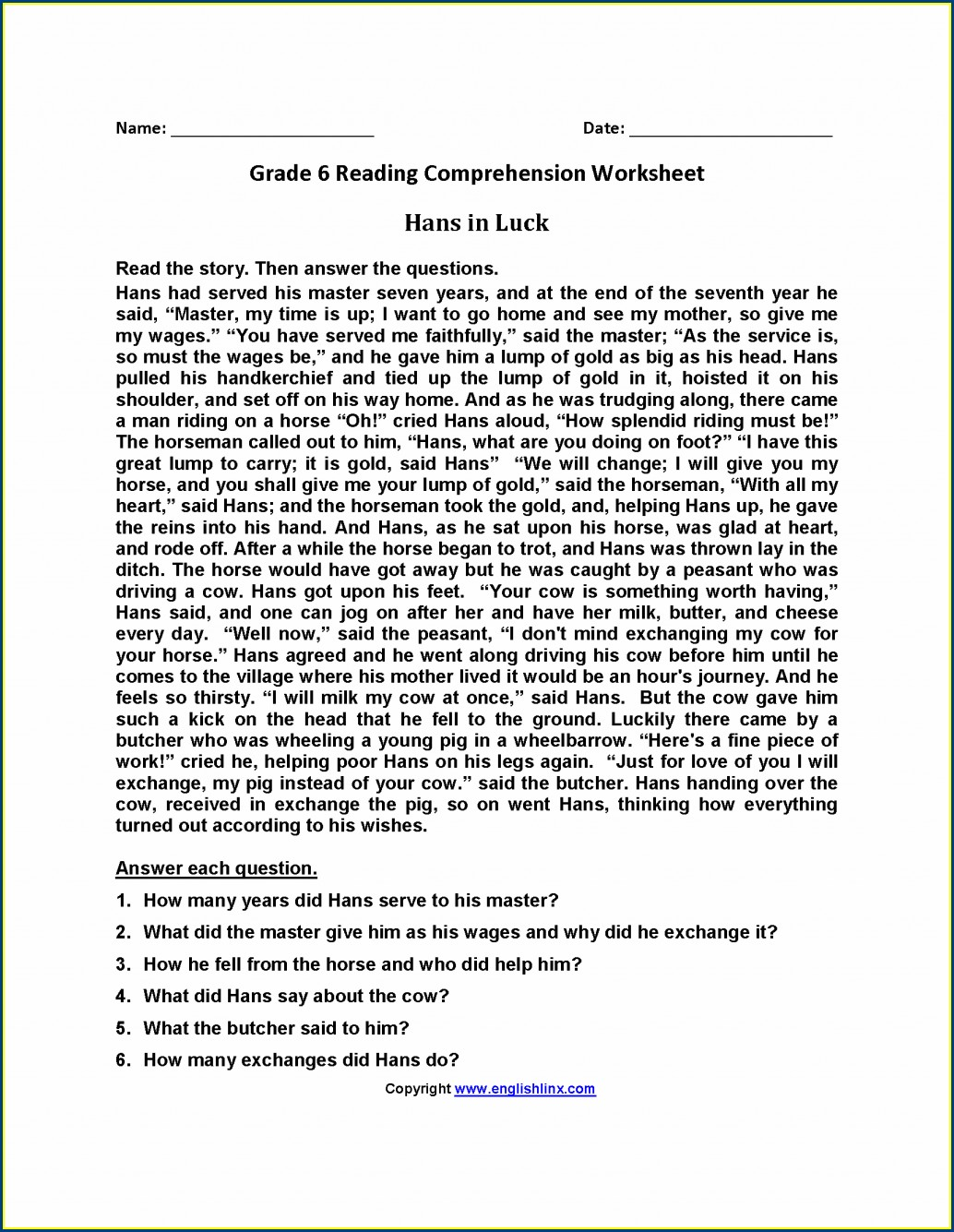 Reading Comprehension Worksheets Questions And Answers