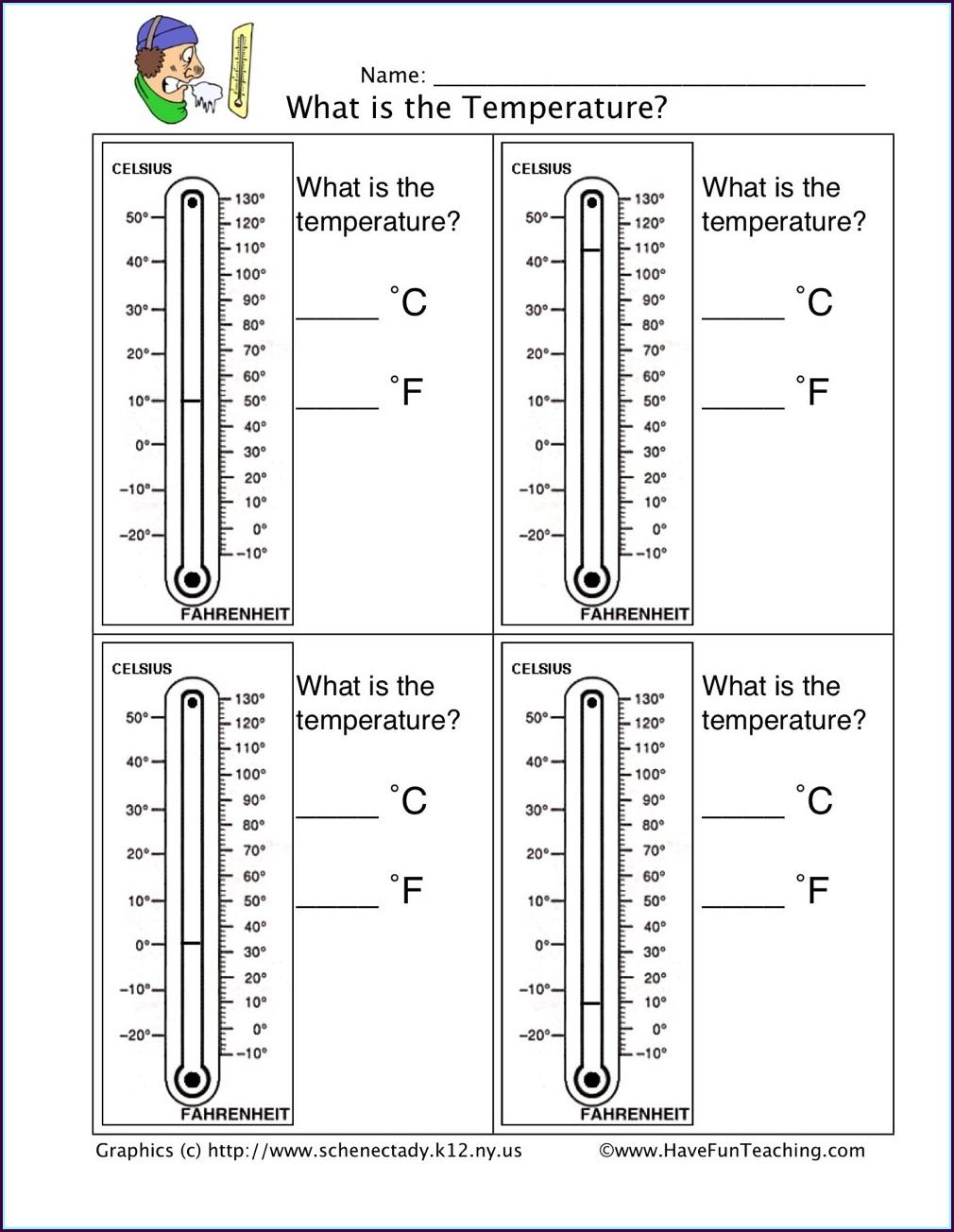 Reading Temperature Worksheet Grade 5
