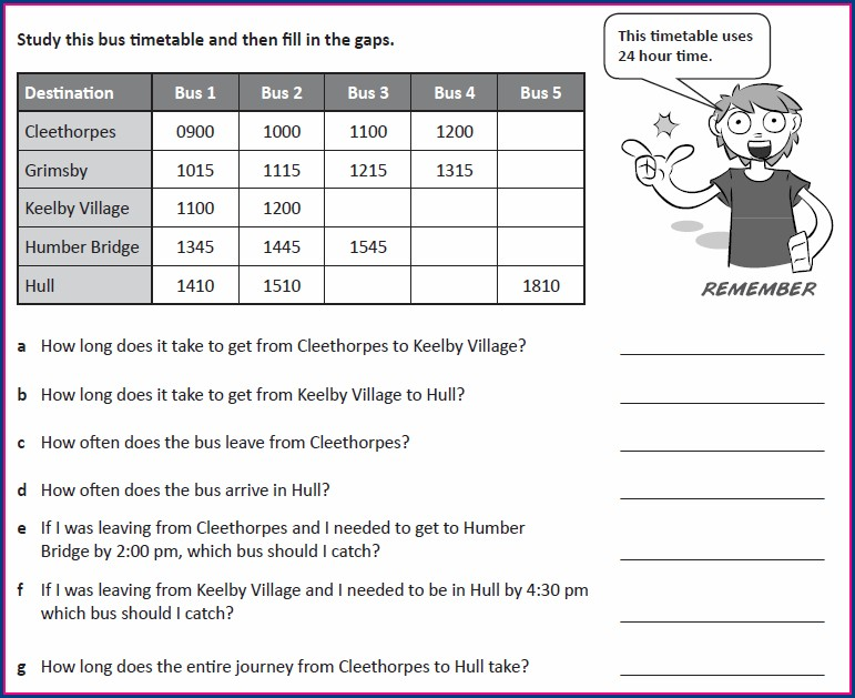 Reading Timetables Worksheet Ks2